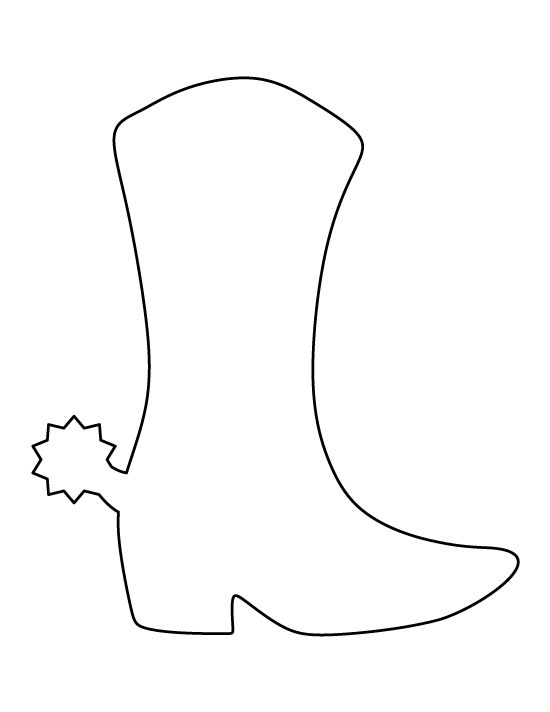 Cowboy boot pattern. Use the printable outline for crafts, creating stencils, scrapbooking, and more. Free PDF template to download and print at http://patternuniverse.com/download/cowboy-boot-pattern/