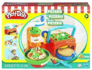 Hasbro Play Doh Pizzeria Pizza Playset by Hasbro. $24.00. Fun set lets you whip up all kinds of yummy-looking pretend pizzas out of PLAY-DOH modeling compound, then mold accessories and your own imagination!. Ages 3 years and up. Includes oven, cheese sprinkler, sprinkler handle, dish, server, cutter, pan, instructions and 3 two-ounce cans and 1 five-ounce can of PLAY-DOH Brand Modeling Compound. Open your own Play-Doh pizzeria with the Twirl 'n' Top Pizza Shop . Who needs ...
