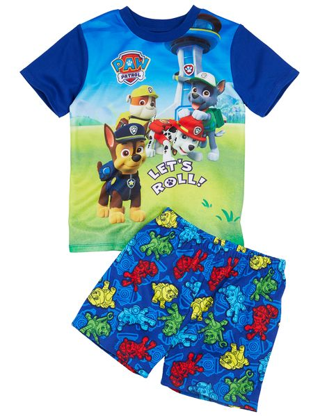 This PJ set features a short-sleeved top with a large Paw Patrol print and all-over printed shorts.