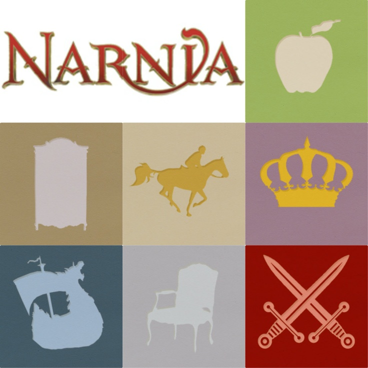 Narnia novels minimalist posters: The Magician's Nephew with the silver apple, The Lion, The Witch, and the Wardrobe has a wardrobe of course, The Horse and his Boy, Prince Caspian, Voyage of the Dawn Treader, The Silver Chair, and The Last Battle.