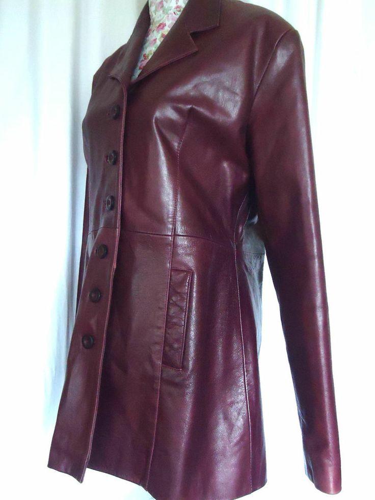 WOMANS HEELI LONDON LEATHER COAT BURGUNDY DARK RED REAL LEATHER JACKET COAT XL