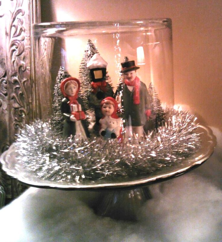Victorian Figures in a Christmas Cloche------- TURN A ROUND VASE UPSIDE DOWN FOR THIS EFFECT.
