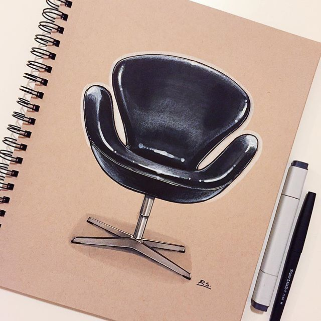 Reid Schlegel - Another Arne Jacobsen classic from the SAS Royal Copenhagen Hotel. The Swan chair was designed in 1958 and is currently produced by @fritz_hansen #ArneJacobsen #fritzhansen #denmark #danish #ID #idsketch #idsketching #industrialdesign #productdesign #furnituredesign #furniture #chair #design #drawing #instaart #art #swanchair