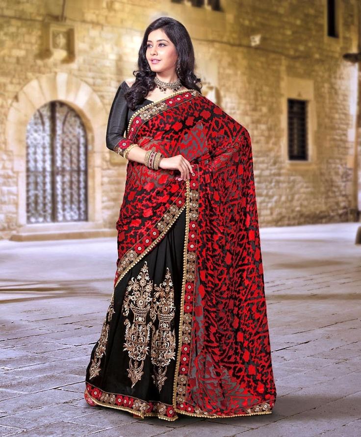 Charming Black & Brick Red Embroidered Saree  ❀ http://www.gravity-fashion.com/9387-charming-black-brick-red-embroidered-saree.html ❀    US$69.89