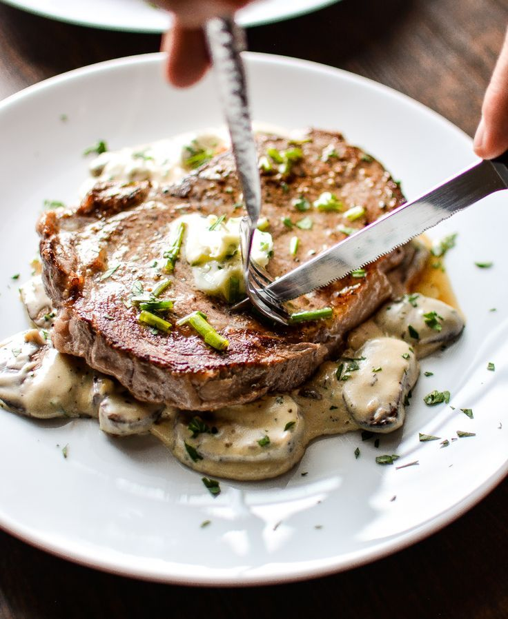 Grilled Ribeye Steak with Herb Butter and Creamy Mushrooms