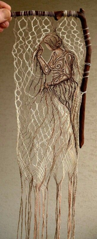 Agnes Herczeg : a Romanian artist who uses weaves supported by pieces of wood, stone or shell that create these beautiful portraits/sceneries.