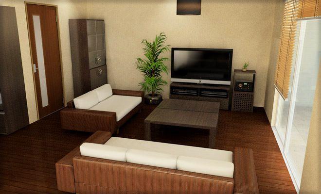 10畳程度のリビングにモダンアジアン家具をレイアウトして少しリゾート風な雰囲気にしてみました。モダンアジアン家具でコーディネートしたリビング