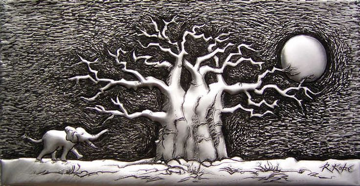 PM349 Baobab with Elephant #2 in Metal by Rheta-Mari Kotze. Original, one of a kind Aluminium Flashing wall sculpture. Art size: 210/110/15 mm deep. Framed. Available  POA. #tree #art #sculpture #TreeSculpture #AfricanArt #decor #wallSculpture #silverart #rBaobabtreeArt #elephant #metaltree