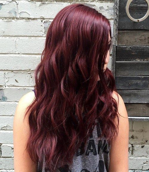 long wavy mahogany hairstyle
