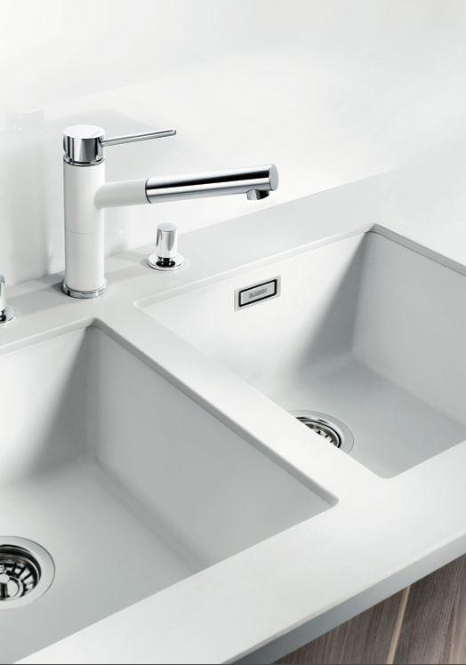BLANCO taps & sinks. Subline400U white.