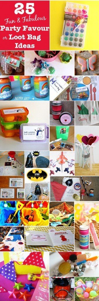 25 fun ideas for take home loot bags and party favours around a variety of children's party themes.