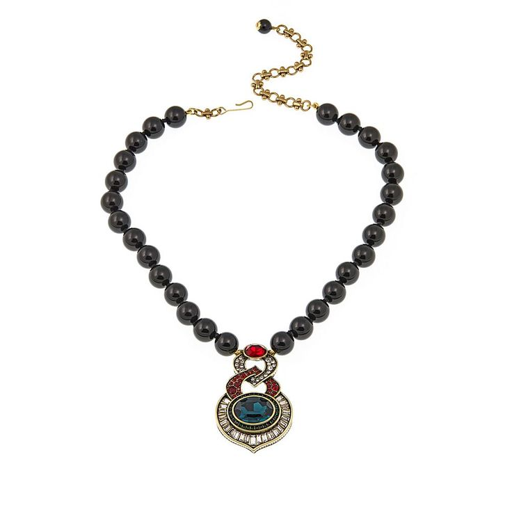"Heidi Daus ""Signature Addition"" Beaded Crystal Drop Necklace - Tahitian Color"