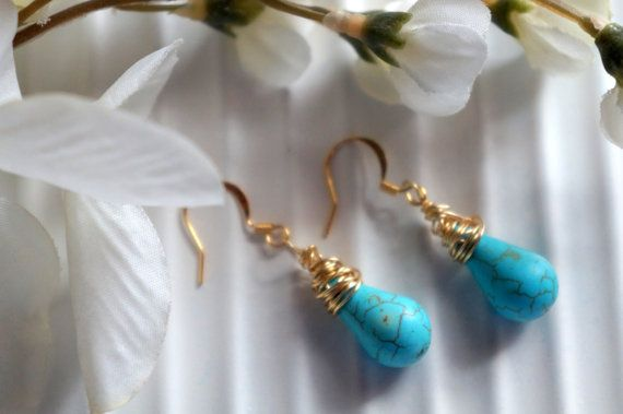 Turquoise earrings wire wrap earrings by DakotaDesignsbyVicki, $18.00