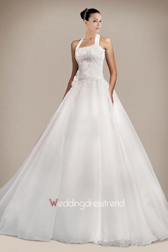Best Halter Ball Gown Floral Tulle Wedding Dress - Beautiful Wedding Dresses Wholesale and Retail Online