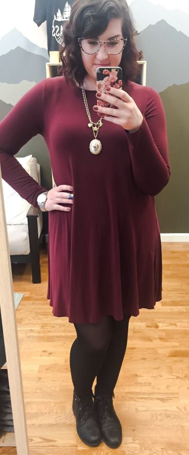 Dressing Optimistically: Burgundy dress, statement necklace, tights and boots for plus size fashion