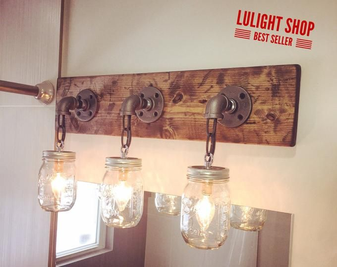 Rustic Distressed Bathroom Set Mason Jar Light Rustic Vanity Etsy Mason Jar Light Fixture Industrial Light Fixtures Rustic Lighting