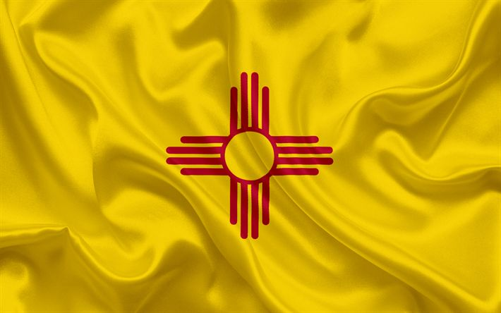 Download wallpapers New Mexico State Flag, flags of States, flag State of New Mexico, USA, state New Mexico, yellow silk flag, New Mexico coat of arms