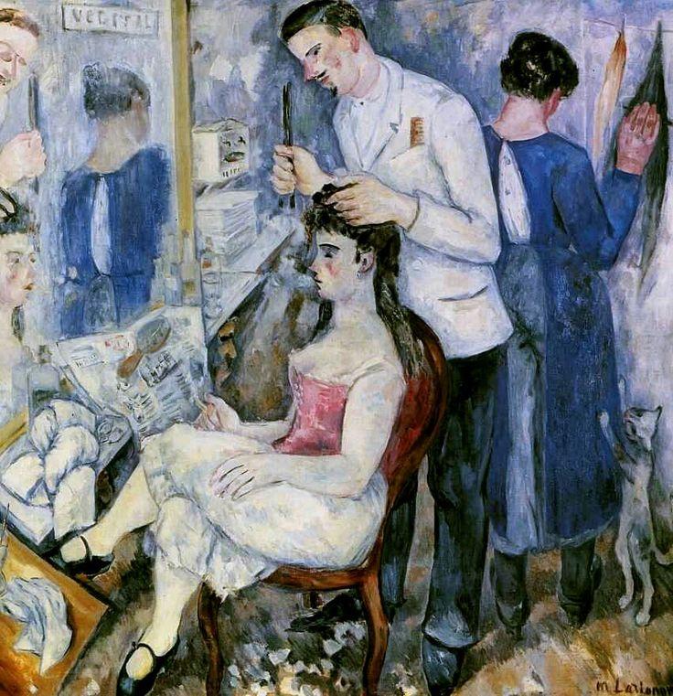 «Девушка у парикмахера» 1920 г. Холст, масло 159 х 152 см.  Из бывшего собрания А. К. Томилиной-Ларионовой. Париж, Франция