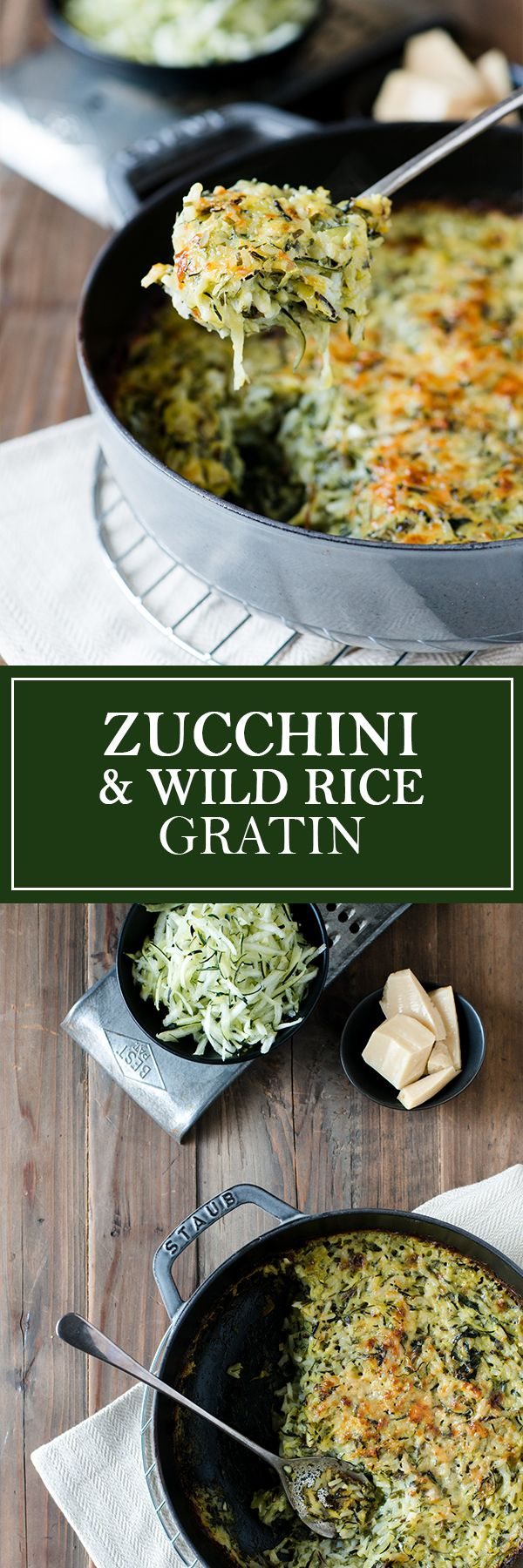Zucchini & Wild Rice Gratin - So rich & creamy, you'd never guess...