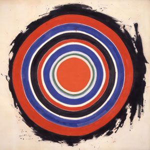 """Kenneth Noland, Beginning, 1958. Color Field Painting is characterized primarily by large fields of flat, solid color spread across or stained into the canvas creating areas of unbroken surface and a flat picture plane. The movement places less emphasis on gesture, brushstrokes and action in favour of an overall consistency of form and process. In color field painting """"color is freed from objective context and becomes the subject in itself."""""""