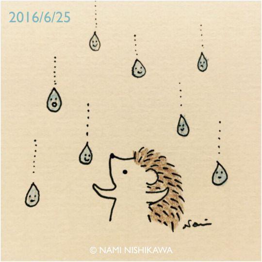 Raining-happy-raindrops hedgehog.