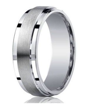 Designer rings like this 7mm Mens Silver Wedding Ring are one-of-a-kind, which may explain why it\'s a perennial best seller. Here, the designer takes an otherwise conservative look and makes it thoroughly modern. It features a raised satin band that is flanked by polished step-down edges on each side, and a flat profile that gives it a very contemporary feel. $149.95