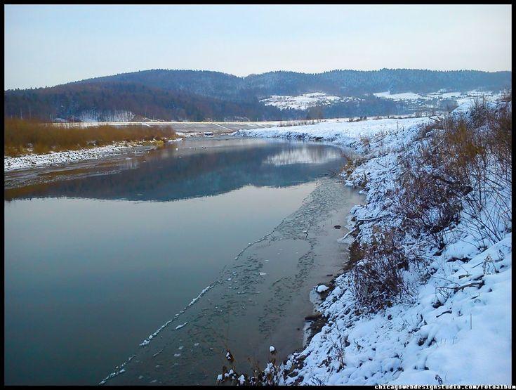 Skawce-Skawa-zima_2.jpg #Skawa #Polska #Poland #małopolskie #powiat-suski #Beskidy #Tarnawa-Dolna #Skawce #Zembrzyce #Zarębki #zalew #zapora #Jezioro-Mucharskie #Mucharz #zapora-w-Świnnej Porębie #rzeka-Skawa