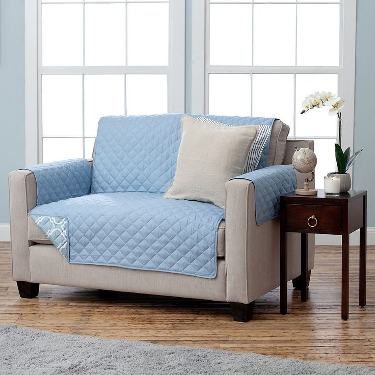 Home Fashion Designs Adalyn Collection Loveseat Slipcover, Blue