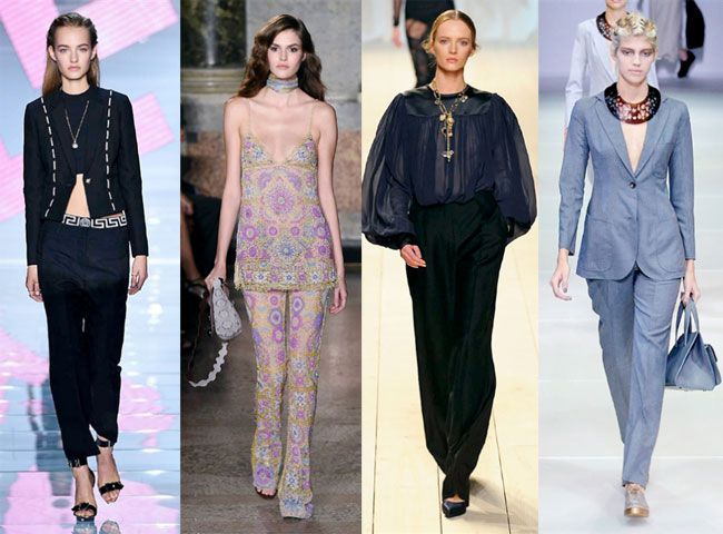 Abiti cerimonia con pantalone: le ultime tendenze primavera estate 2015, da sinistra Versace, Emilio Pucci, Nina Ricci, Giorgio Armani