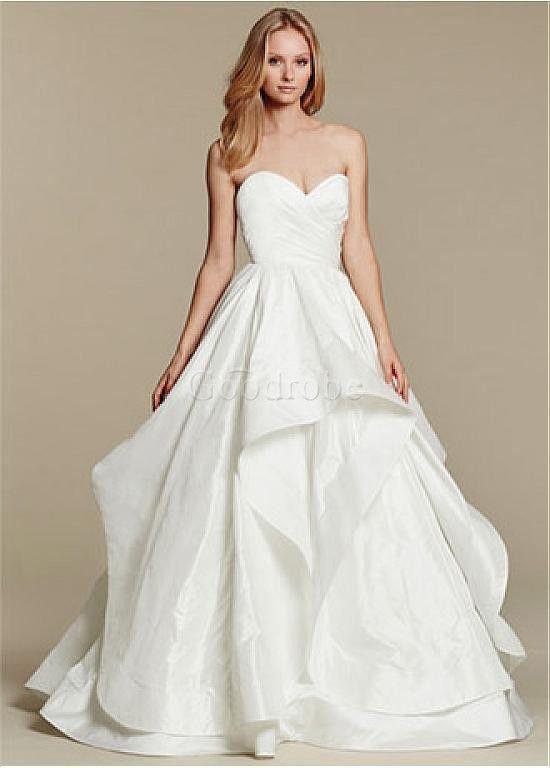 Robe de mariée traîne mi-longue taffetas col en cœur mode de bal naturel - photo 2