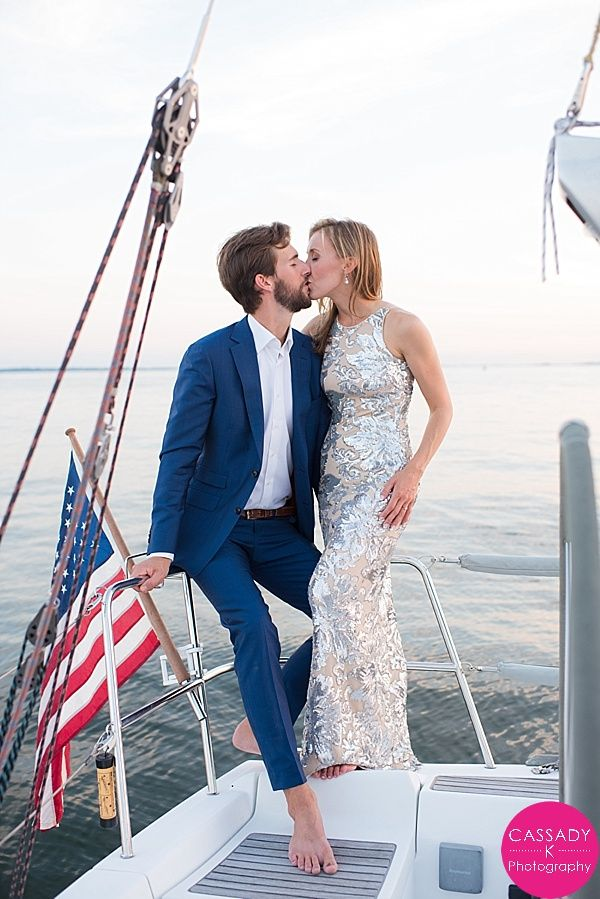 Nautical Sunset Engagement Session on a Sailboat at the American Yacht Club, Rye, NY. American Flag & a Sequin Dress - Cassady K Photography