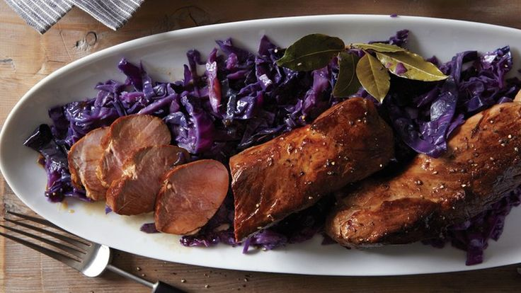 Beer-Marinated Pork Tenderloin with Red Cabbage   Bon Appetit Recipe