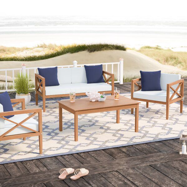 Delray 4 Piece Sofa Seating Group With, Teak Patio Furniture Cushions