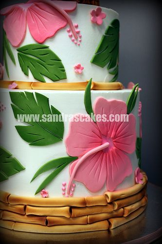 I want someone to make me this. Jennifer Luau Hibiscus Cake, love the bamboo with turquoise