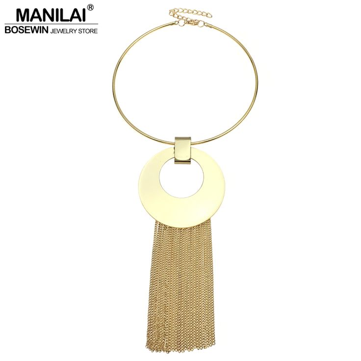 Find More Pendant Necklaces Information about MANILAI Fahion Big Shining Metal Long Tassel Necklaces Women 2017 Maxi Choker Statement Jewelry Chains Pendants Necklace,High Quality tassel necklace,China long tassel necklace Suppliers, Cheap necklace women from MANILAI BOSEWINLTD Store on Aliexpress.com