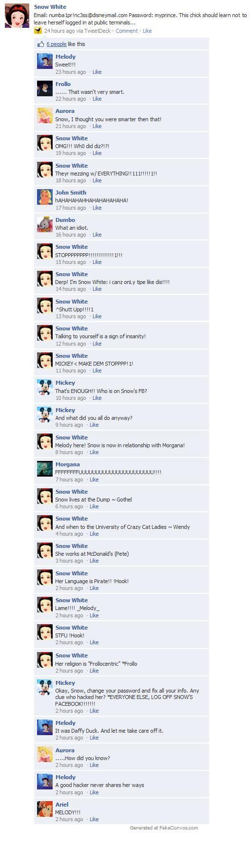 Disney Meets Facebook: Hacked
