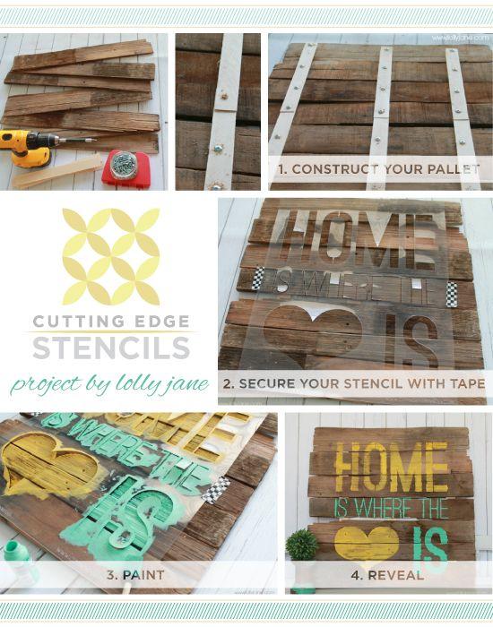Learn how to stencil pallet or wood art using stencils from Cutting Edge Stencils! http://www.cuttingedgestencils.com/wall-quotes-stencils-quotes-for-walls.html      #stencils #cuttingedgestencils #stenciling #stencilpatterns #diy #homedecorating #interiordesign