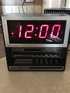 Midcentury Alarm Clock Spartus Digital Model 1119-61 Wood Grain Made Hong Kong  | eBay