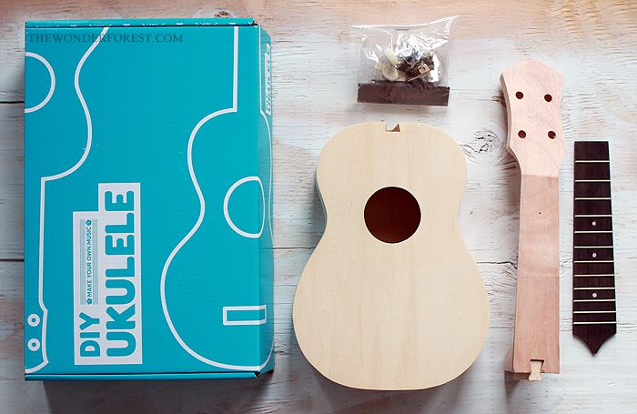Uke in box! Create and customize your own Ukulele with this great kit from UncommonGoods.