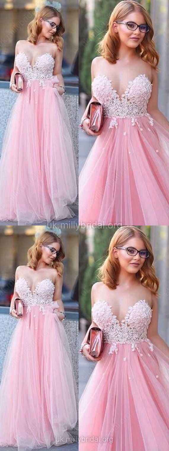 Lace Prom Dresses,Pink Prom Dresses,Long Prom Dresses For Teens,Tulle Scoop Neck Prom Dresses Princess,Modest Prom Dresses Appliques #pinkdress #formaldress