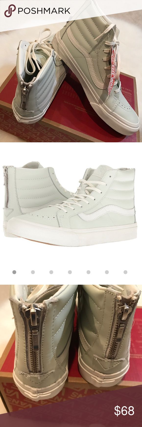 NWT Vans SK8-Hi leather mint zip up sneakers Super chic NWT Vans SK8-Hi leather upper mint colored sneakers with zip up on back. Size 7.5 women. White leather trim along the sides.  Perfect with skinny jeans or skater dress! No Trades. 700+ items sold with perfect 5 star rating! Vans Shoes Sneakers