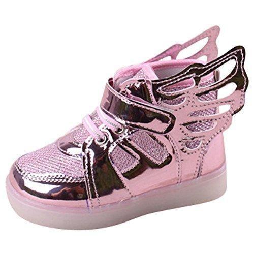 Oferta: 15.99€. Comprar Ofertas de hibote Niño Niña Luz para arriba los zapatos de Prewalker del ala del ángel Solf las zapatillas de deporte rosado EU 23 barato. ¡Mira las ofertas!