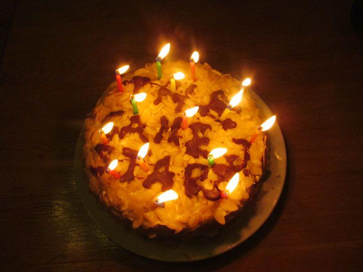 dort (piškot, jahodový krém, mandle), pro bráchu k 15. narozkám -))