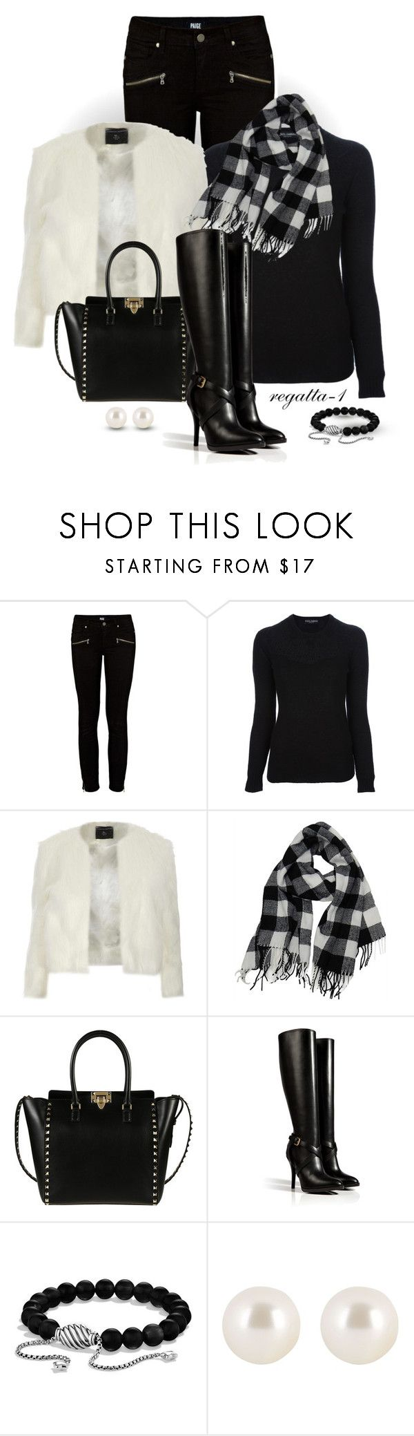 """""""Black and White"""" by regatta-1 ❤ liked on Polyvore featuring Paige Denim, Dolce&Gabbana, Dorothy Perkins, Valentino, Ralph Lauren Collection, David Yurman, Henri Bendel, white, black and fauxfur"""