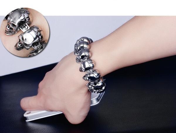 Punk Rock Skull Bracelet Men Stainless Steel Skeleton Men's Bracelets & Bangles Male Jewelry Accessory  Wristband
