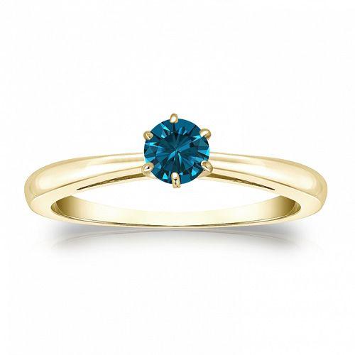 Diamant Ring 0.25 Karat blauer Solitär 585/14K Gelbgold  #diamantring #weissgold #gelbgold #rosegold #blauer_diamant #verlobung #juwelier #abt #dortmund