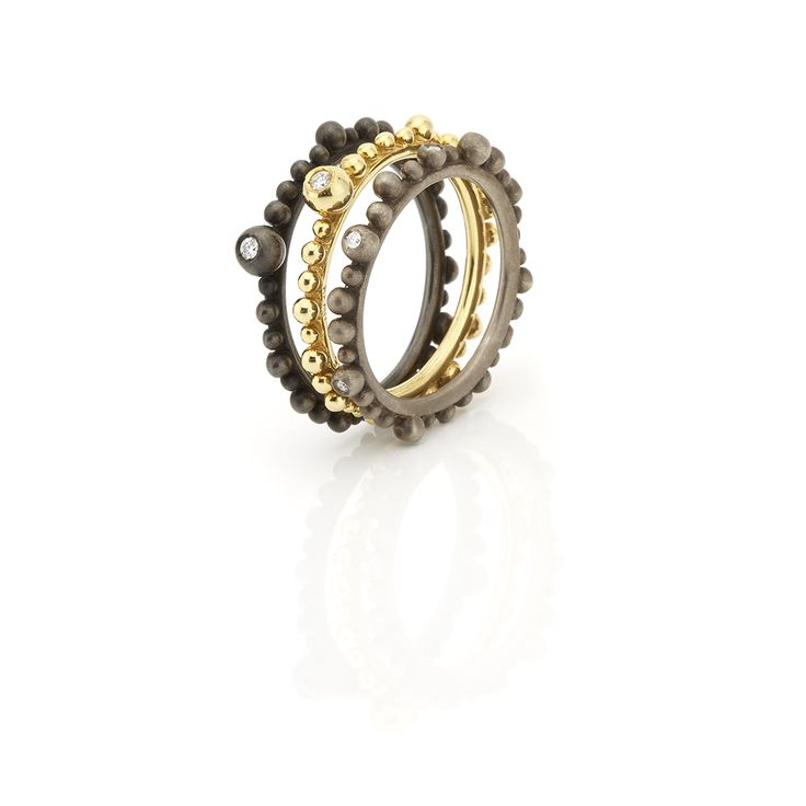 Triplet of gold rings // black, yellow and gray color with brilliants #huffyjewels www.huffyjewels.com