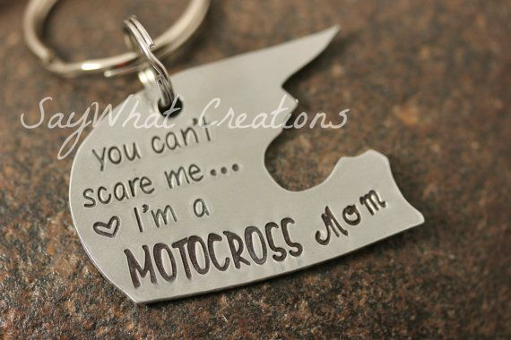 "Motocross Dirt Bike Helmet Hand Stamped Key Chain ""you can't scare me I'm a MOTOCROSS Mom"""