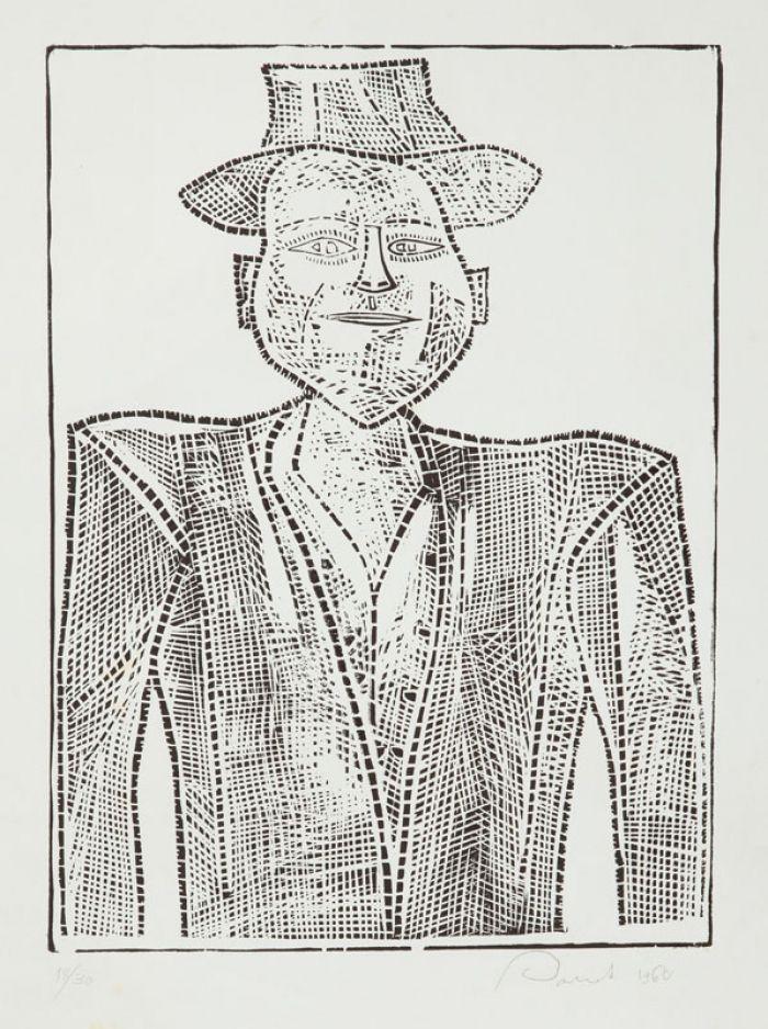 Jerzy Panek - Autoportret w kapeluszu, 1960 r.
