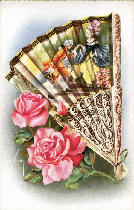 Vintage Fan with Roses Postcard